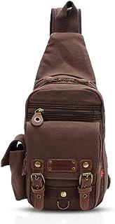 FANDARE Rucksack Sling Bag Umhängetasche Messenger Tasche Schultertasche Reisen Daypack Klein Crossbady Bag Segeltuch Braun
