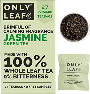 ONLYLEAF Jasmine Green Tea for Calm Mind, Made with 100% Whole Leaf & Natural Flavors, 27 Pyramid Tea Bags (25 Tea Bags + ...