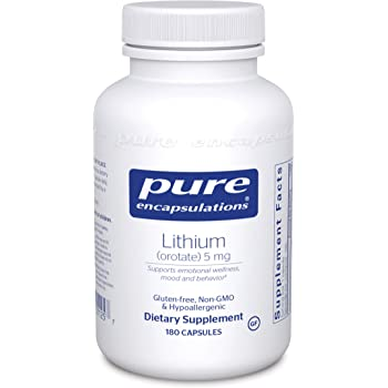 Pure Encapsulations - Lithium (Orotate) 5 mg - Hypoallergenic Supplement Supports Healthy Mood, Emotional Wellness, Behavior and Memory - 180 Capsules
