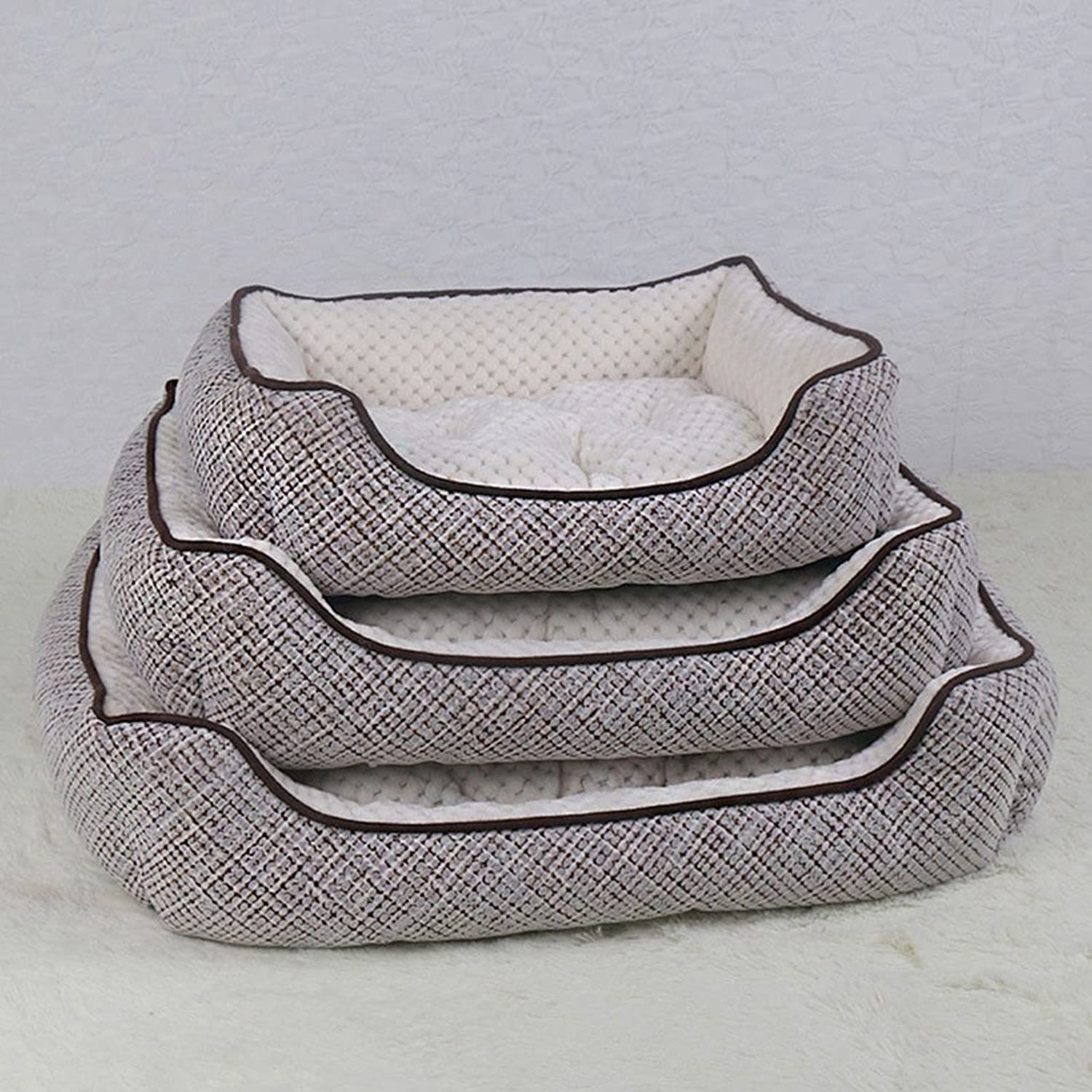 Canvas Soft Pet Dog Cat Bed for Small Medium Bed House Cushion with Remable Pet Mat Nest Wasable