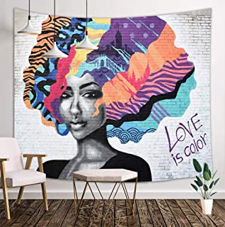 KOTOM African American Tapestry, Afro Girl with Colourful Hair Hairstyle Portrait on White Brick Wall Hippie Art, Wall Art Hanging Blankets Home Decor for Bedroom Living Room Dorm, 80X60 Inches