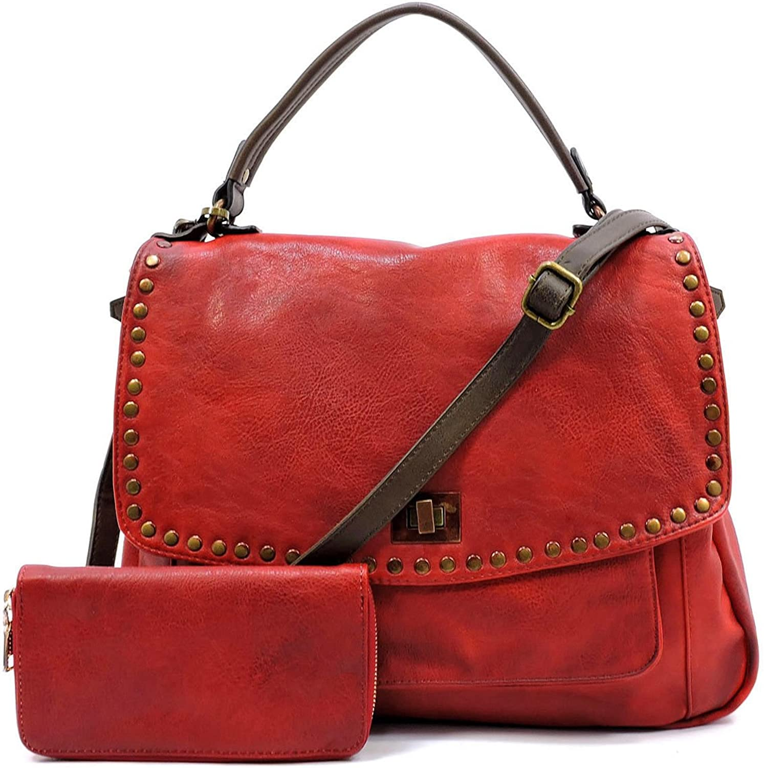 Le Miel Distressed Vegan Leather Top Handle Large Crossbody + Wallet Red