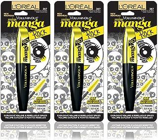 (3 Pack) L'Oreal Paris Voluminous Miss Manga Rock Mascara #387 Blackest Black