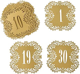 Hyaline&Dora Laser Cut Wedding Table Card Numbers Lace Table Cards for Wedding Reception Party Favors (beige gold number1-30)