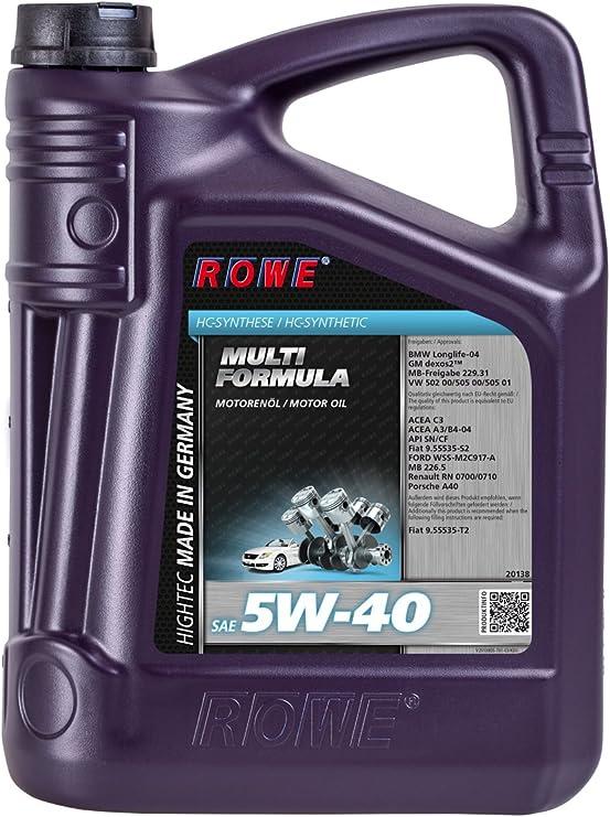 Rowe 5 Liter Hightec Multi Formula Sae 5w 40 Motorenöl Motoröl Für Pkw Vollsyntethisch Hc Synthese Auto