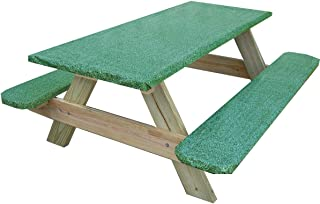 Econotex Picnic Table and Benches Vinyl Tablecloth and Seat Covers Stretch to Fit 3 Piece Set Fitted Elastic Edge Green Granite