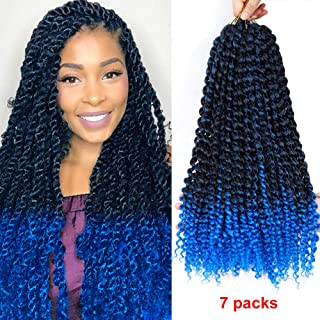 CLIONE 7Pack Passion Twist Hair Synthetic Crochet Braids Blue Ombre Braiding Hair Extensions Curly Wavy Braiding Hair Extensions Water Wave for Passion Twist Hair (18inch, 22strands/pack,TBlue)