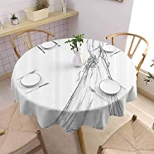 SONGDAYONE Round Tablecloth Bridal Wrinkle Free Tablecloth Fairytale Ending of a Love Story Princess Sketchy Bride with Flowers Image (Round,54 Inch) Black and White