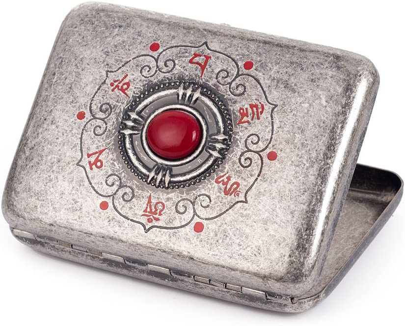 Special price for a limited time Red Coral Inlay Buddha Eye [Alternative dealer] Brass Cigarette Metal Holder Case