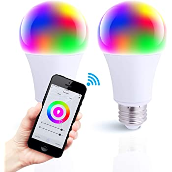 Asencia FG-03875 WiFi Bulb, RGBW Changing, Compatible with Alexa and Google Home Assistant (No Hub Required) A19 E26 Base Smart LED Light, 2-Pack, Multi-Color, 2 Count