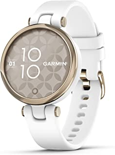 Garmin Lily ، ساعت هوشمند GPS کوچک با صفحه لمسی و لنزهای طرح دار ، طلای روشن و سفید