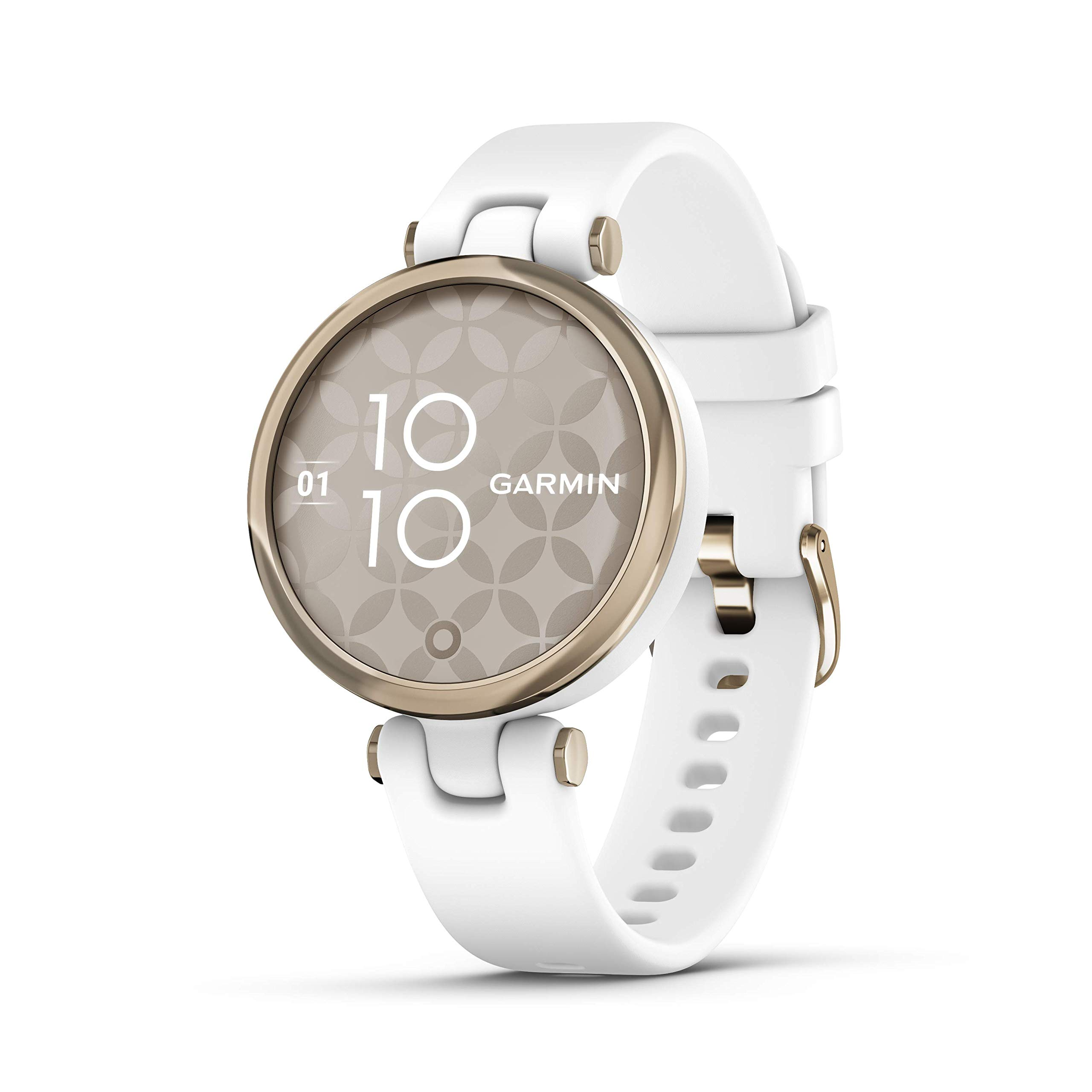 Garmin Lily Smartwatch Sport Edition - Cream Gold Bezel with White Case and Silione Band