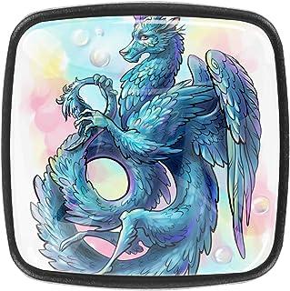 Dragon à plumes bleu 4 PCS Tiroir de Porte Poignée, Bouton de Meubles, Boutons de Tiroir, Boutons de Porte, Poignées de Me...