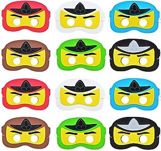 Máscara de ninja, dibujos animados de superhéroes disfrazan a los niños con máscara de ojos para la fiesta de cumpleaños, favores de la fiesta 12