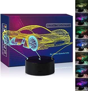HIPIYA Sports Car LED 3D Illusion USB Lamp Mixed Color Optical Racing Night Light Christmas Present Birthday Gift Roadster for Boy Boyfriend Man Player Fan Bedroom Decoration Room Decor (Sport car)