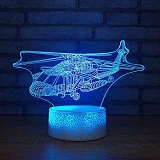 Helicopter Night Light 3D Visual Desk Lamp Aircraft Airplane Toy Household Home Room Decor 7 Colors Change Bedroom Touch Table Light Birthday Gift Christmas for Kids and Adult