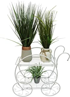 Useful. UH-FS309-WHT Decorative Two Tiered Flowerpot Cart - Decorative Wire Garden Stand with Two Shelves for Flowerpots and Planters