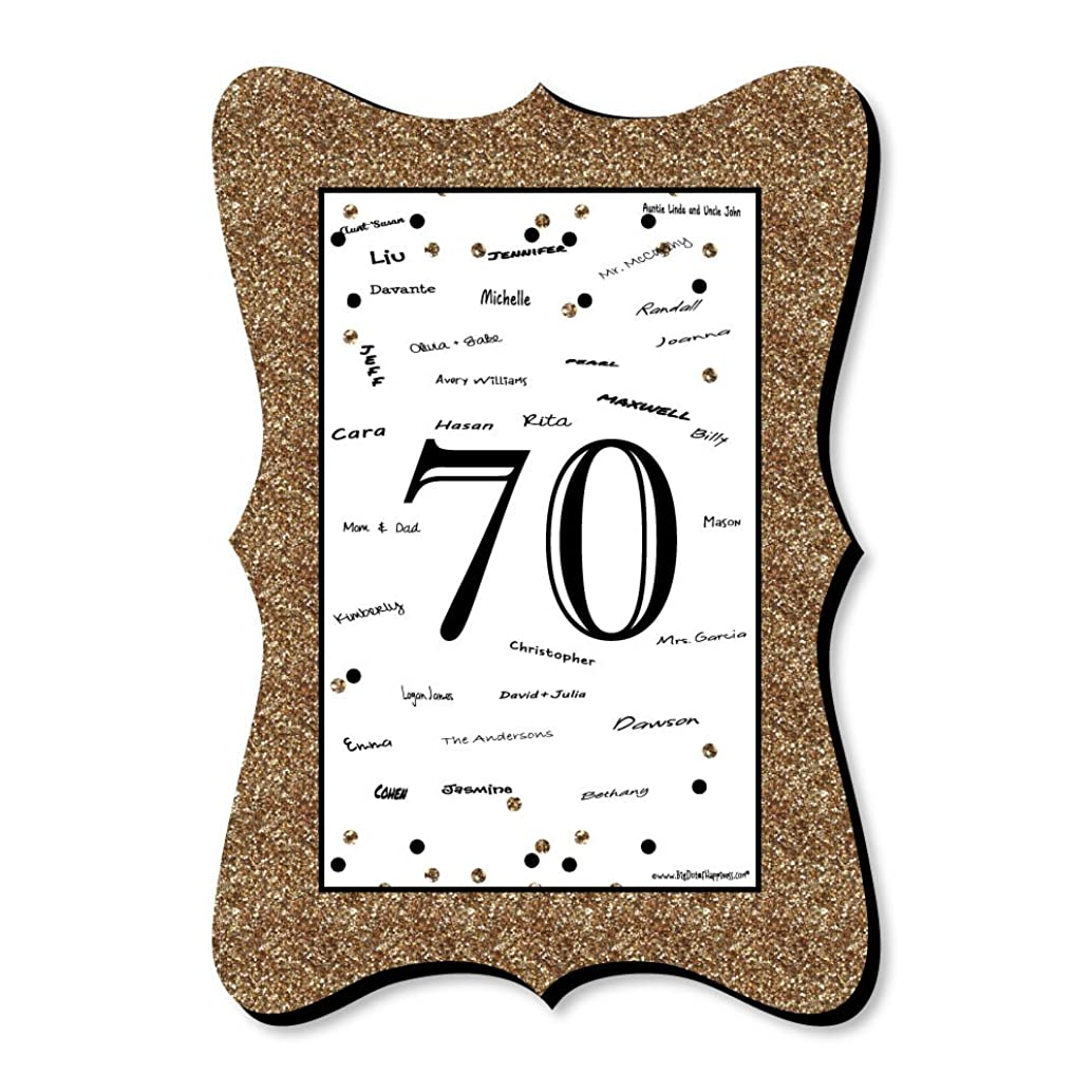 Adult 70th Birthday - Gold - Unique Alternative Guest Book - Birthday Party Signature Mat