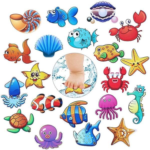 GezyUS Bathtub Stickers Non Slip 20 Pcs Baby Shower Stickers Anti Slip Ocean Creature Bath Decal Treads Non Slip Self Adhesive Shower Safety Appliques For Baby Children Bath Tub