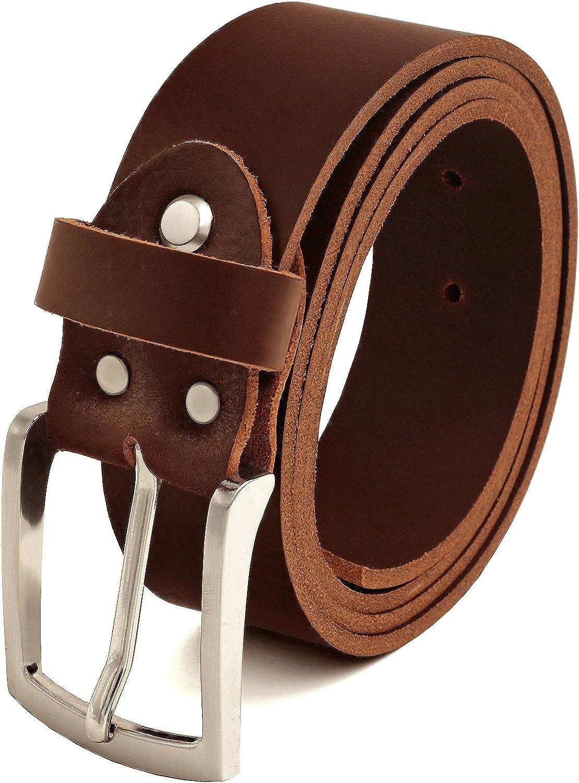 Marrón Cinturón Cuero Búfalo, 40 mm De Ancho y aprox. 3-4 mm De Grueso, Puede Acortarse #Br007-02