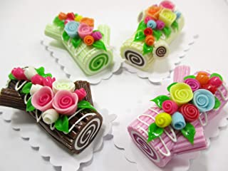 Dollhouse Miniatures Food 4 Color Log Roll Cakes Flower Rose Compatible with Barbie 15162