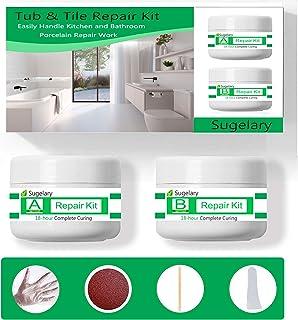 Porcelain Repair Kit, Fiberglass Tub Repair Kit for Shower White Tubs, Tile Ceramic Toilet Stone Chips Scraps Drill Holes ...