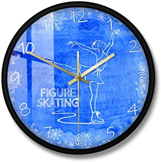 Wall Clocks The Lady On Ice Figure Skating Modern Wall Clock Silent Non Ticking Wall Clock Ice Skater Unique Home Decor Sp...