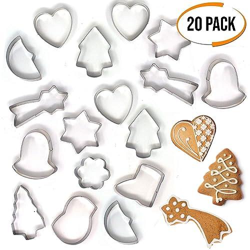 20 Unidades – Divertidos Moldes 3D de Figuras Navideñas – Cortador de Galletas y Decoraciones para