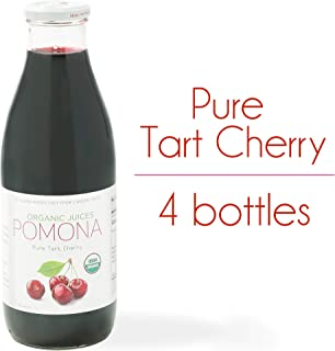 POMONA Organic Pure Tart Cherry Juice, 1 Liter Bottle (Pack of 4), Cold Pressed Organic Juice, Non-GMO, No Sugar Added, Not from Concentrate, Gluten Free, Kosher Certified, Preservative Free