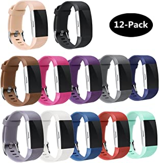 TECKMICO Fitbit Charge 2 Bands,12PCS Multicolor Replacement Bands for Fitbit Charge 2 Fitness Men Women