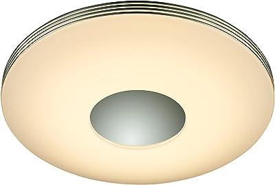 Reality, Plafonnier, Castor incl. 1 x LED,SMD,25,0 Watt,3000 - 6500K,3000 Lm. Plastique, Blanc, Corps: Plastique, Chrome Ø:34,0cm, H:7,0cm IP20,Commande à distance,Variateur intégré,Couleur de lumière infiniment variable