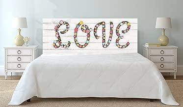 Cabecero cama Cartón ecologico Texto Love flores sobre madera blanca 150x60cm | Disponible en Varias Medidas | Cabecero Ligero, Elegante, Resistente y Económico |