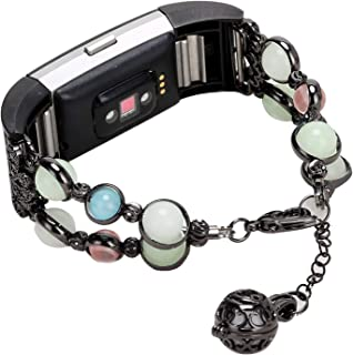 Imymax for Fitbit Charge 2 Bands Bracelet Adjustable Wristband Handmade Night Luminous Pearl Charge 2 Bracelet with Storage Pendant for Women/Girls (Black)