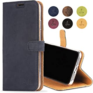 iPhone 8 Case, Snakehive Genuine Leather Wallet with Viewing Stand and Card Slots, Flip Cover Gift Boxed and Handmade in Europe by Snakehive for iPhone 8 - (Navy)