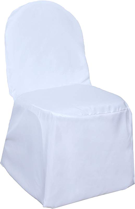 BalsaCircle 100 Pcs White Polyester Banquet Chair Covers For Party Wedding Linens Decorations Dinning Ceremony Reception Supplies
