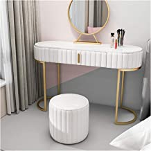 Makeup Dressing Table Vanity Table Set with Drawers, Golden Metal Leg White Marble Wood Veneer, Modern Makeup Dressing Tab...