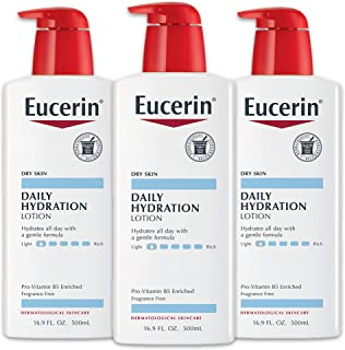 Eucerin Daily Hydration Lotion - Light-weight Full Body Lotion for Dry - 16.9 fl. oz. Pump Bottle (Pack of 3)