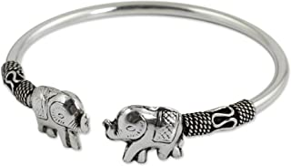 NOVICA .925 Sterling Silver Animal Cuff Bracelet 'Proud Elephant'