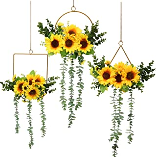 Pauwer Metal Floral Hoop Wreath Set of 3 Artificial Sunflower Wall Hanging Hoop Garland Metal Ring Floral Wedding Wreath w...