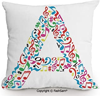 FashSam Throw Pillow Covers Graphic Composition with Do Re Mi Art Symbols Letter A Lively Colors Inspirational for Couch Sofa Home Decor(14