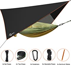 """Trekassy 118""""x 78"""" Portable Double Camping Hammock with Removable Mosquito Bug Net, Rain Fly and Tree Straps for Indoor, Outdoor, Backpacking, Travel, Beach, Hiking"""