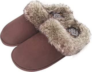 Womens Fuzzy Fur Cozy Moccasin Suede House Slippers, Winter Warm Slip On Home Bedroom Clogs