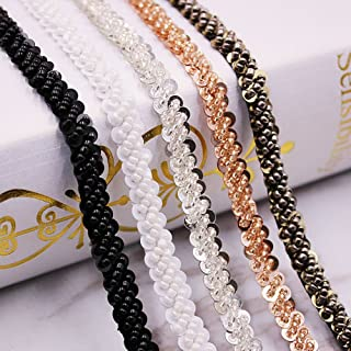 USJee 1 Yard White Beaded Sequins Applique Crystal Patches for Wedding Sash Bridal Belt DIY Sewing