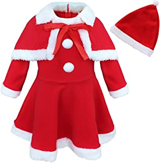 Baby Girls Christmas Santa Claus Fancy Dress with Shawl Hat Outfit Set