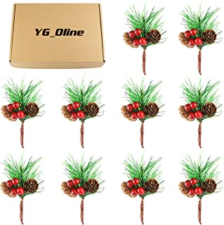 YG_Oline 12 Pcs Artificial Red Berries Pine Cones Pine Branches, Christmas Flower Arrangements Wreaths, Fake Pine Needles for Christmas, Thanksgiving, Wedding, Crafts