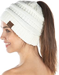 Funky Junque Exclusives BeanieTail Womens Beanie Ponytail Hat Messy Bun Skull Cap