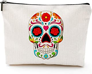 Skull Makeup Bag,Skull Bags for Women,Mexican Sugar Skull Makeup Bag Cosmetic Bag Toiletry Travel Bag Case for Women,Students Pencil Case