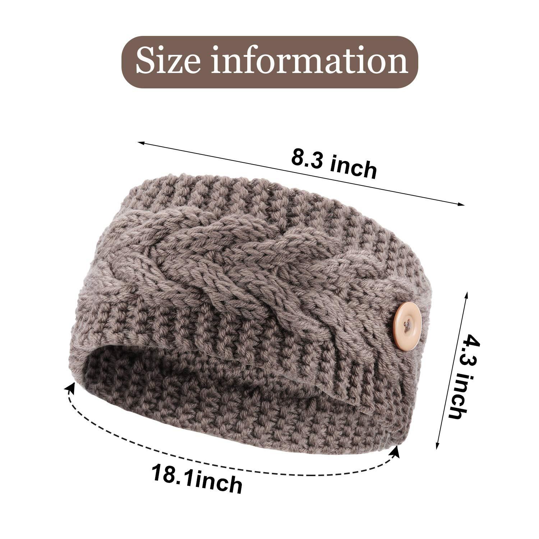 4 Pieces Crochet Turban Headbands Knotted Button Headband Winter Braided Headbands Warm Knitted Headwraps for Women Girls Favors