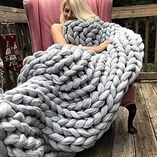 LICHUXIN Couverture tricotée faite à la main en coton pour canapé, lit, chaise, tapis de décoration d'intérieur (couleur :...