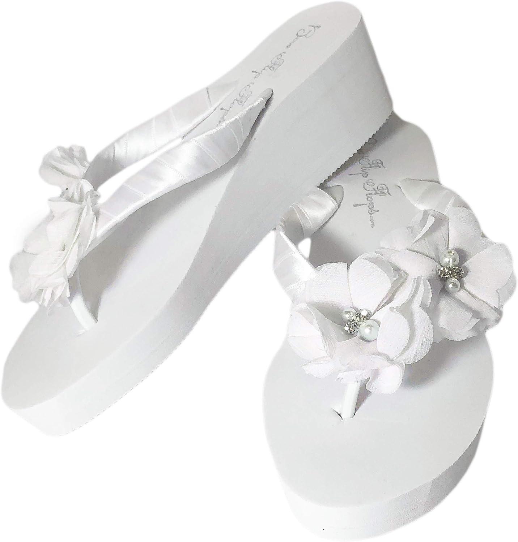 Ivory Wedge Flip Flops Wedding Bridal White Wedge Bride Platform